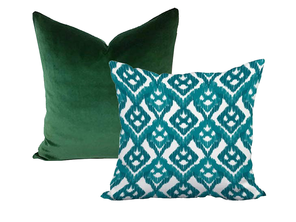 forest green throw pillow paired with a teal pillow