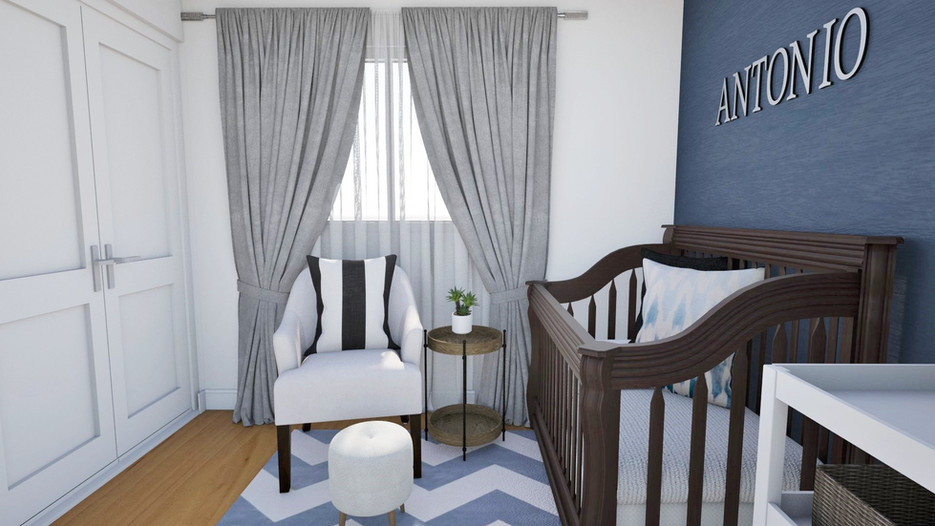 blue kids boys bedroom nursery, trendy design