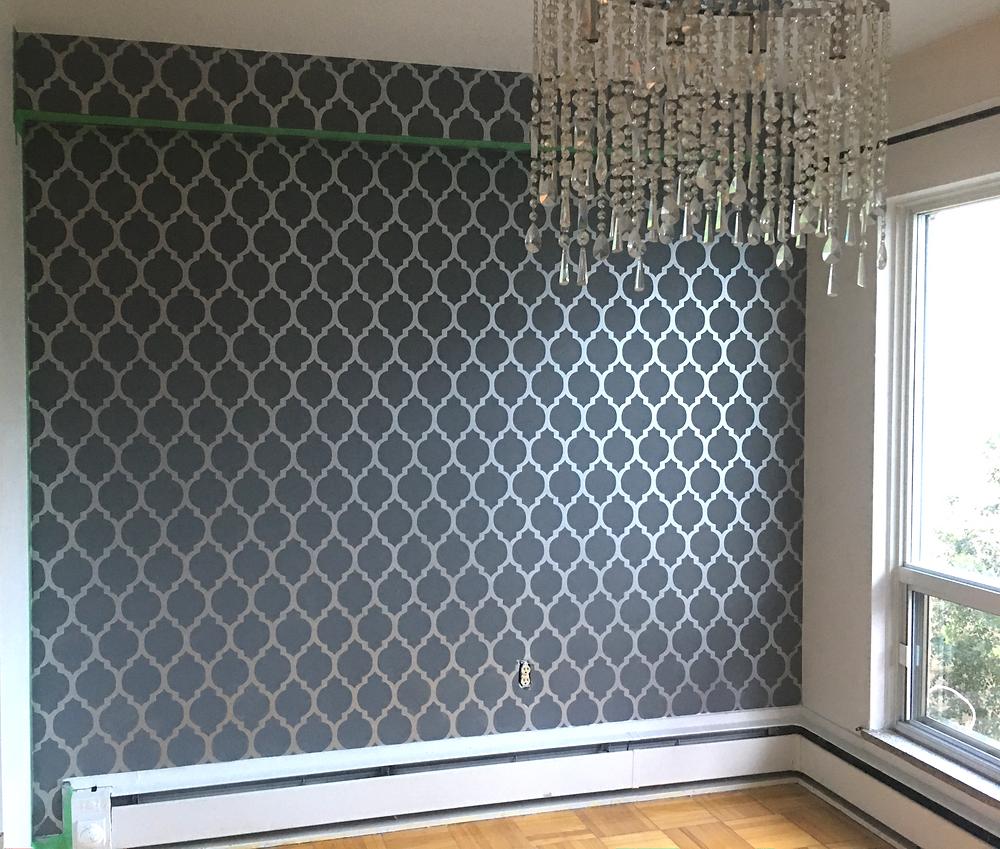 Cutting Edge Wall Stencil, Glam trellis pattern in dining rom