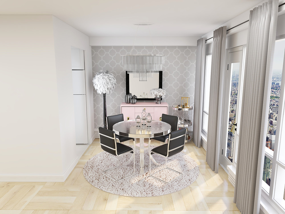 Coohom, edesign tribe platform renderings in 4K of glam dining room in toronto condo apartment