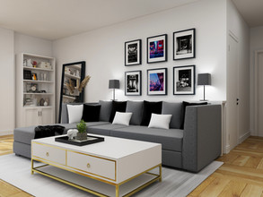 gallery wall above sectional for toronto client done online interior design