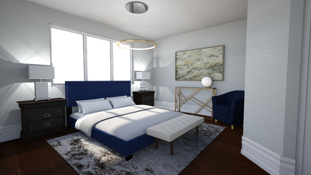 grey room with blue bed gold console