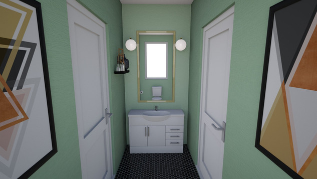 trendy green powder room with artwork and decor
