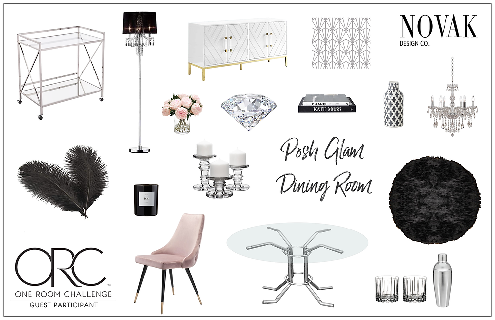 Posh Glam dining room mood board with glass table, pink dining chair, black ostrich feathers, bar cart, candle, floor lamp, vase, books, black shag rug, chandelier and wall stencil