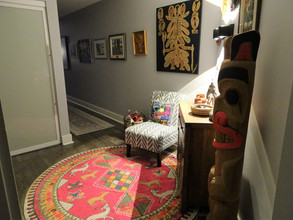 Totem pole in tribal entryway