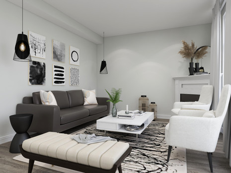 Brown leather sofa paired with white IKEA coffee table and plants