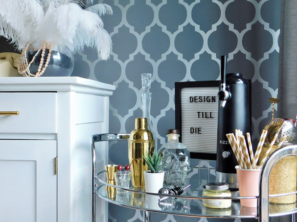 how to style a message board on a bar cart