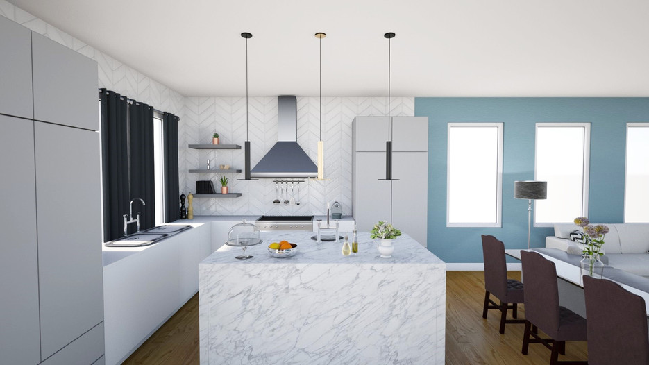 modern luxe kitchen with marble in caledon