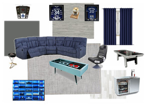 mancave or basement game room concept board with blues
