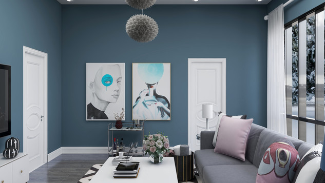 glam art in blue room