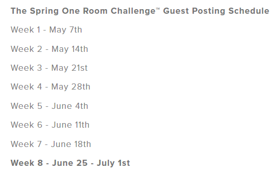 One Room Challenge Guest participant blog posting schedule