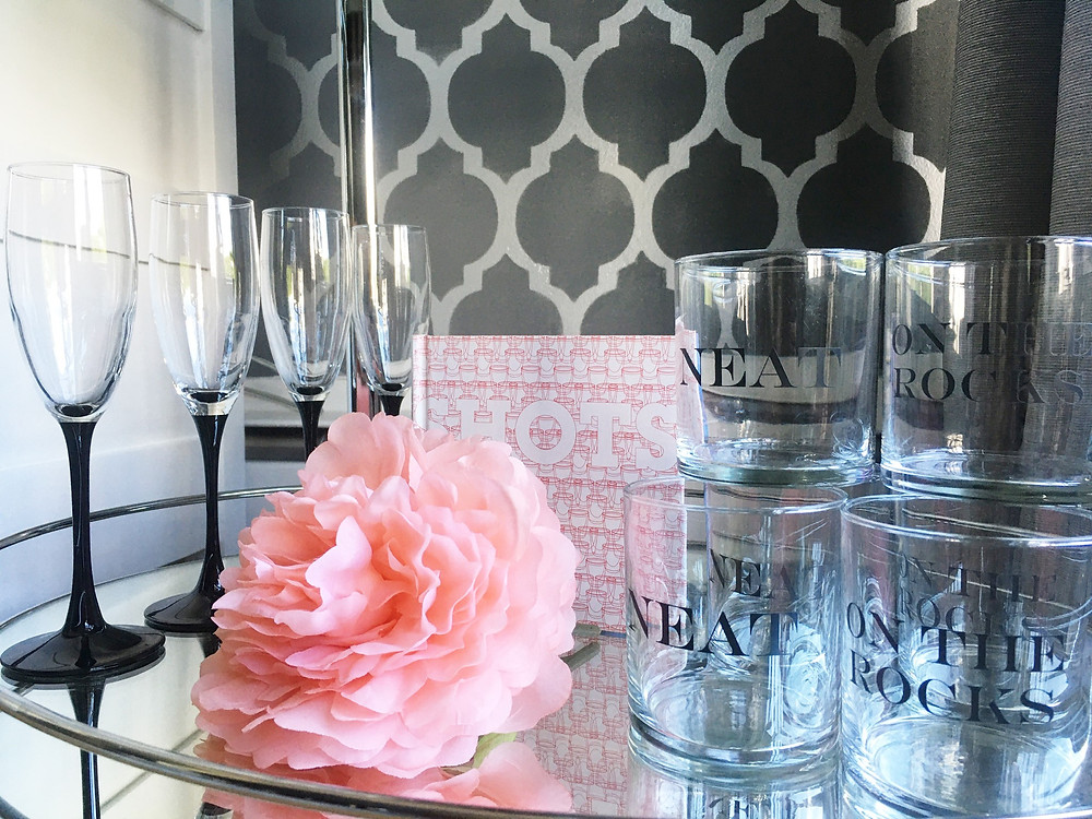 How to style a bar cart with flowers