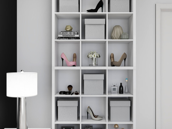 cube shelf styled with virtual interior design
