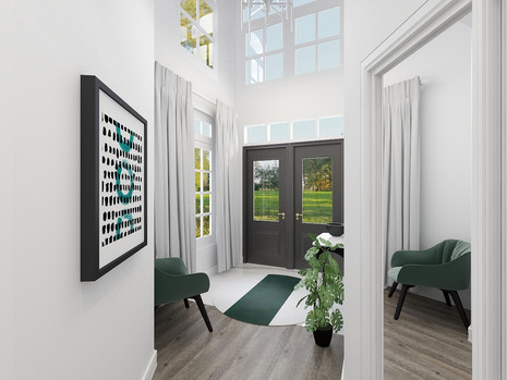 green accent colour in modern entry