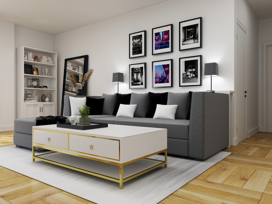 modern glam living room with photograph art