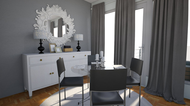 chic dining room with rug and glass table