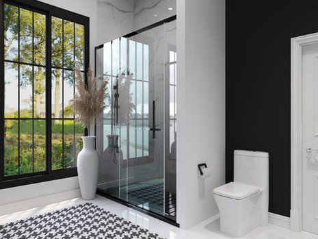 Modern whimsical bathroom with black accent wall