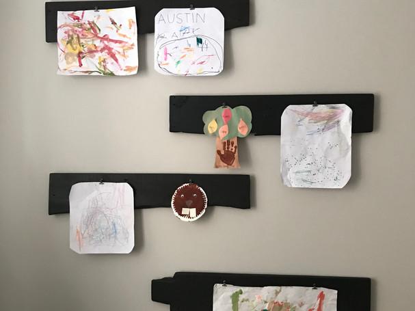 Custom made art display for kids playroom