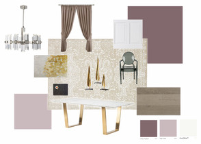 purple theme idea board for dining room