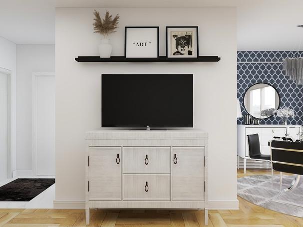 Picture ledge above tv in toronto condo done through e-design