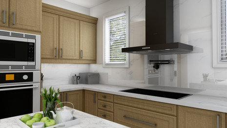 built-in wall oven and microwave in renovated kitchen