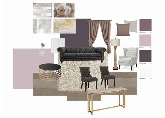 violet mood board for living room