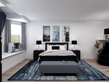 Blue, grey and black bedroom colour scheme