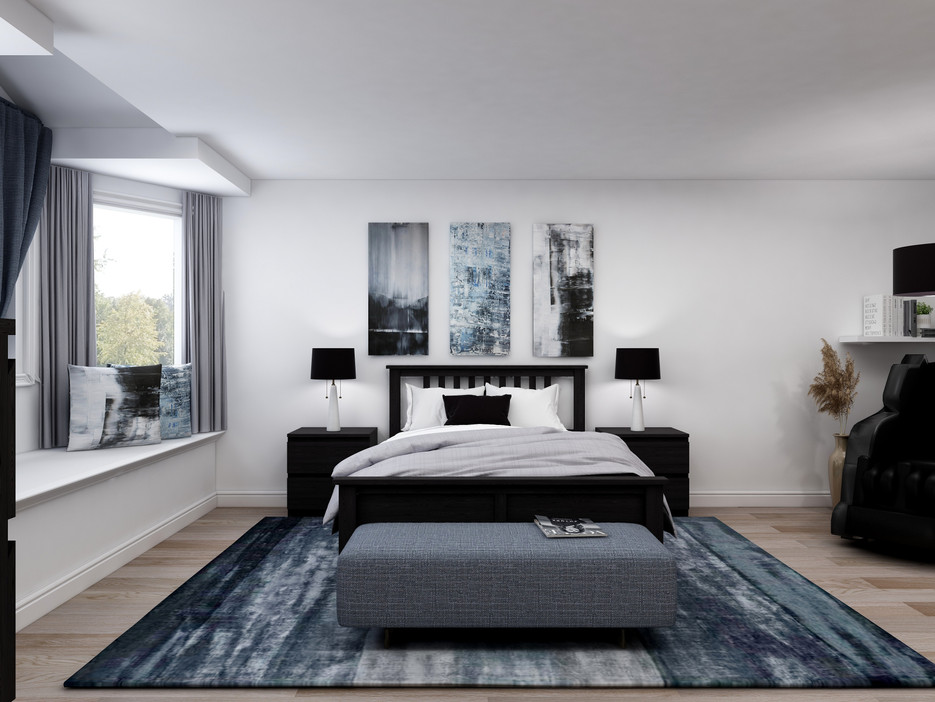 Blue, grey and black bedroom colour scheme