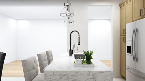 Marble waterfall island with a pull down faucet and double deep basin sink