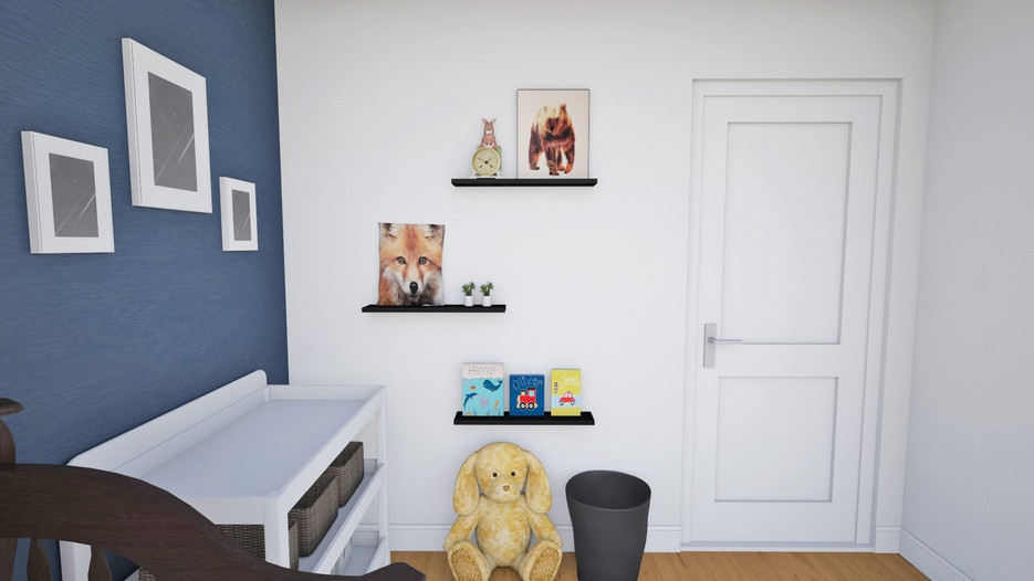 picture ledge and bookshelves, rabbit clock with bear and rabbit artwork, kids artwork, white changing table