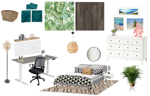 boho travel inspired office and spare bedroom