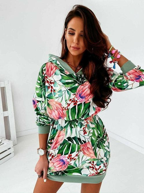 Floral Short Hoodie Dress