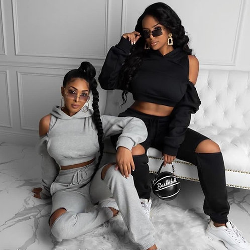 Crop Ripped Tracksuit