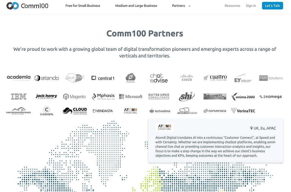 AtomXDigital partnership with Comm100