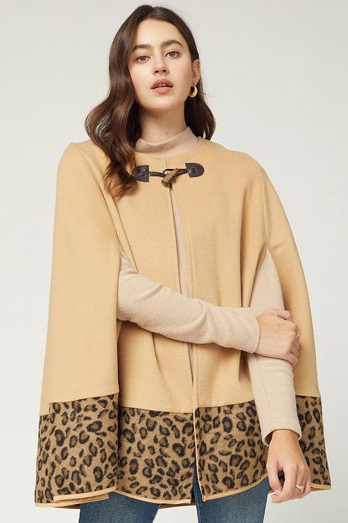 Leopard Cape in Camel