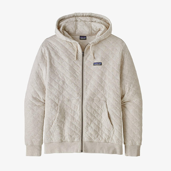 Organic Cotton Quilt Hoody In Khaki