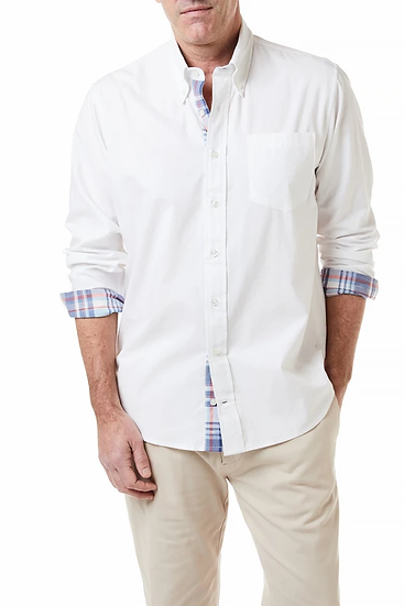 CHASE SHIRT WHITE OXFORD WITH BRISTOL MADRAS