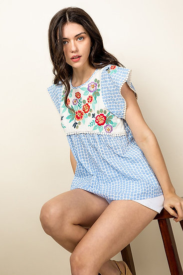 Embroidered Short Sleeve Print Top
