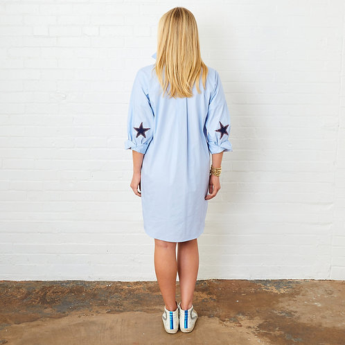 Preppy Star Dress Light Blue