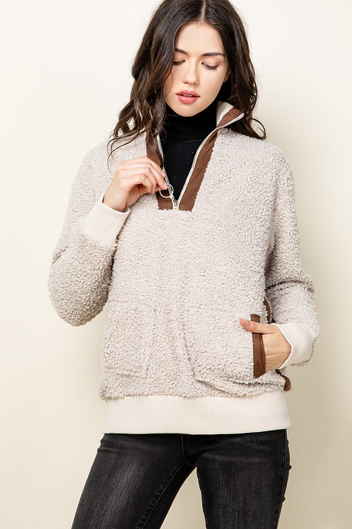 Suede Detail Pullover