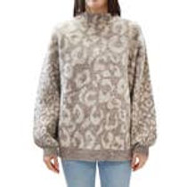 Leopard Balloon Sleeve Sweater