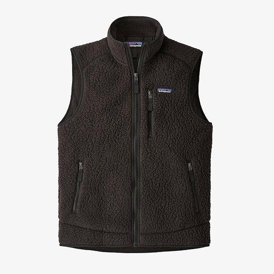 Retro Pile Fleece Vest In Black