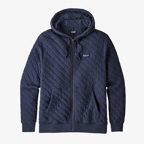 Organic Cotton Quilt Hoody In New Navy
