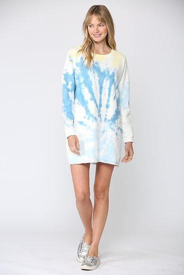 TIE DYE FRENCH TERRY SHIFT DRESS