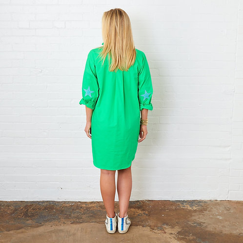Preppy Star Dress Green