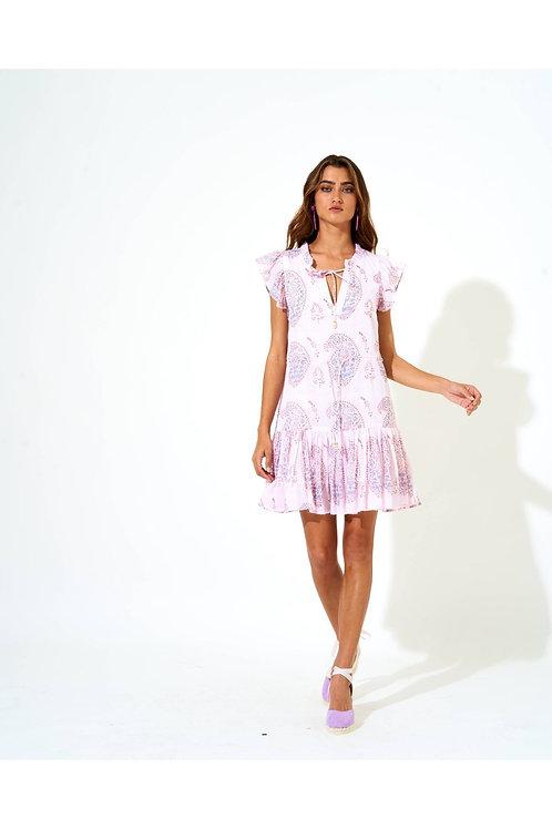 CINCHED FLIRTY DRESS- SAMODE LAVENDER