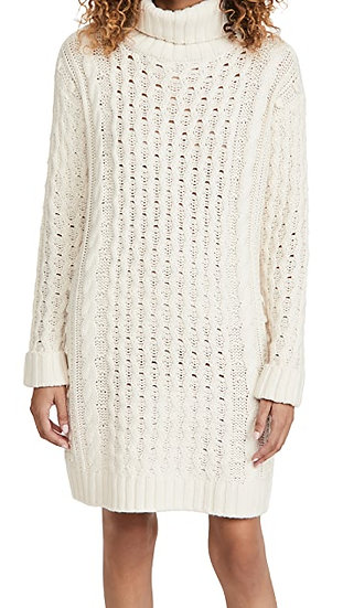 Soft Acrylic Cable Turtle Neck Dress