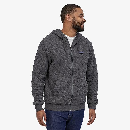 Organic Cotton Quilt Hoody In Grey