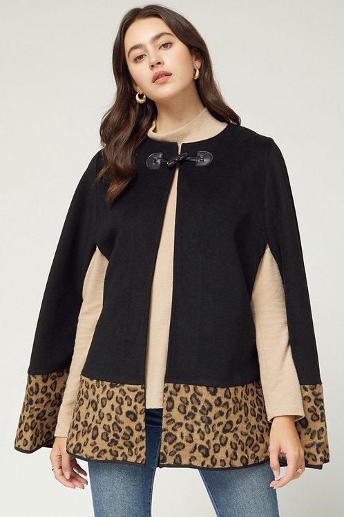 Leopard Cape in Black