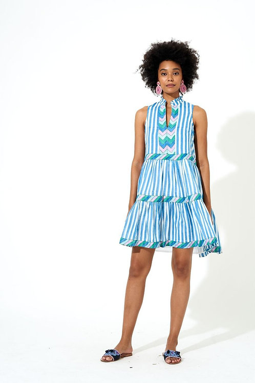 YOKE DRESS- PLAYA BLUE